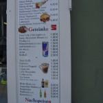 Getränke und Nachspeise Preise