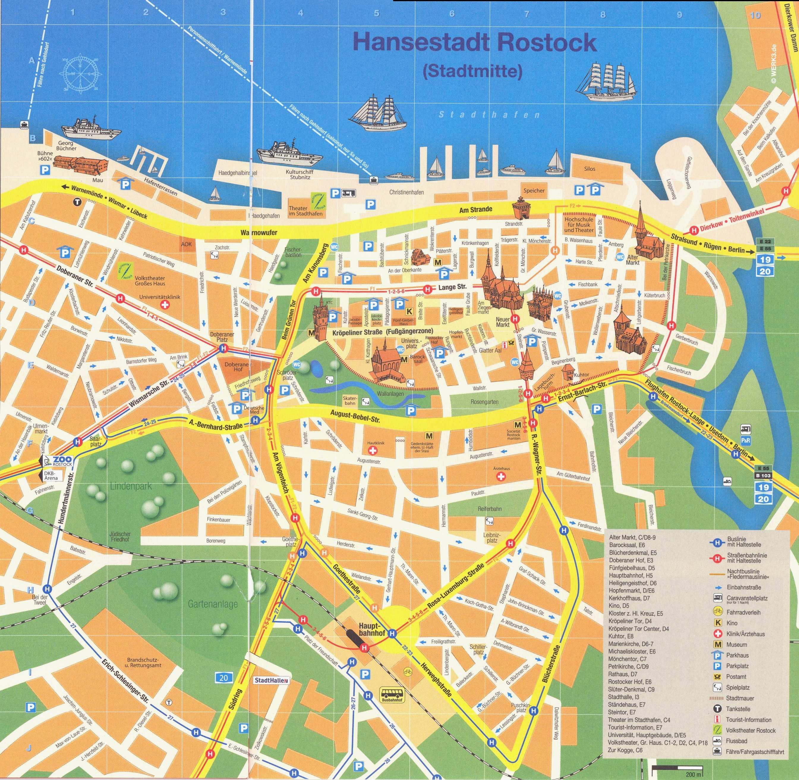 Rostock sehensw rdigkeiten stadtrundfahrt und karte for Warnemunde zimmer mit fruhstuck